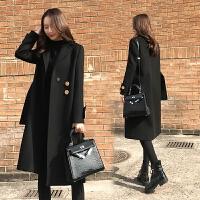 大衣女中长款韩国2017新款加厚黑色毛呢外套女冬宽松过膝呢子大衣