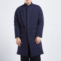 男装冬季中长款棉衣中国风加厚棉麻中式盘扣棉袄提花大衣古着外套