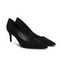 尖头细跟黑色高跟鞋职业工作鞋中跟单鞋2018新款百搭工装女鞋 黑色【5cm】 羊反绒