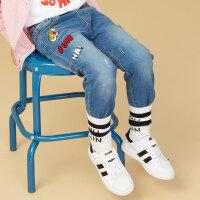 美特斯邦威旗下 moomoo童装男童牛仔裤秋季时尚绣花洋气微弹儿童中大童长裤子棉