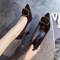 鞋子女2018新款女鞋高跟鞋细跟绒面浅口鞋尖头性感单鞋婚鞋工作鞋