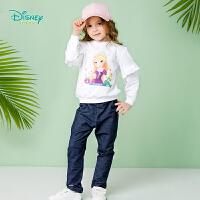 迪士尼Disney童装 女童套装春季新品卡通公主休闲服宝宝纯棉可开档卫衣裤子两件套191T875