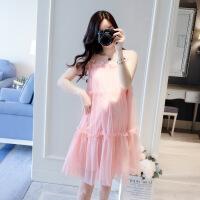 孕妇连衣裙夏装新款无袖甜美孕妇裙子韩版宽松网纱裙时尚孕妈潮装 粉红色