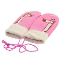 冬款布艺厚绒宝宝保暖手套 男女大童儿童挂绳手套