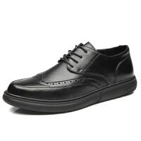 秋季新款英伦黑色休闲皮鞋男士正装韩版潮流青年布洛克雕花男鞋子真皮