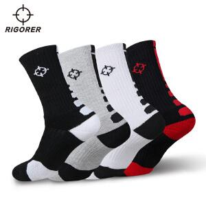 准者运动男袜 吸汗防滑防臭黑白色篮球袜 秋冬季加厚运动袜长筒袜