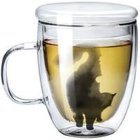 九土手工马克杯 猫咪杯子双层玻璃杯办公咖啡杯女用猫杯艺术茶水杯