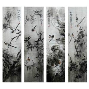 现代画家    杨丽  寒梅冰雪  1*4