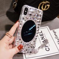 新款水钻镜子iphone手机壳女苹果XR流苏保护套带钻XS网红潮 XR