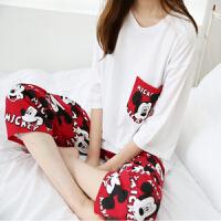 睡衣女夏韩版七分袖卡通米奇家居服套装可爱女生休闲宽松两件套薄