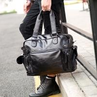 男包单肩包斜挎包男士包包手提包休闲韩版潮流包旅行包潮 经典黑