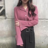 春夏韩版修身显瘦百搭纯色翻领长袖衬衫明线学生上衣衬衣女装