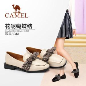 骆驼女鞋 2018秋季新款英伦风时尚方头方跟蝴蝶结低跟休闲单鞋女