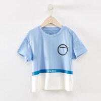 【1件4折到手价:66】米喜迪mecity童装2019夏新款男童撞色拼接短袖T恤