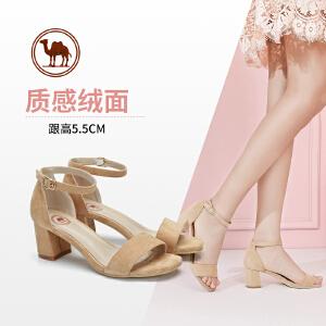 骆驼牌女鞋 2018夏季新款 一字带高跟鞋 通勤时尚性感粗跟凉鞋女