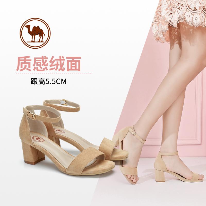 骆驼牌女鞋 夏季新款 一字带高跟鞋 通勤时尚性感粗跟凉鞋女