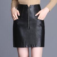 高腰皮短裙包臀裙女秋冬2018新款韩版时尚PU皮裙半身裙大码一步裙