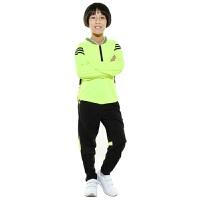 儿童足球服长袖套装 男女冬季户外运动跑步服速干透气儿童足球衣定制 吸汗透气球衣套装 荧光绿色 儿童女 3X