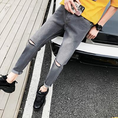 夏季新款牛仔裤破洞小脚裤修身港风帅气青少年韩版裤子