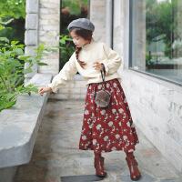 韩版女童两件套套装裙童长袖上衣童装复古淑女童秋连衣裙