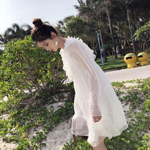 谜秀雪纺连衣裙女长袖2018春装新款韩范超仙两件套遮肚子裙子夏潮