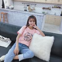 2018夏款女装新款纯棉短袖圆领t恤学生宽松卡通印花上衣