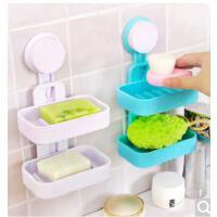 创意双层吸盘浴室吸盘式双层沥水香皂盒 肥皂架置物架 双层 颜色随机