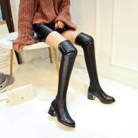 2018冬新款长靴女过膝真皮加绒中跟瘦腿弹力靴粗跟长筒靴高筒靴子SN0292 黑色 保暖绒里
