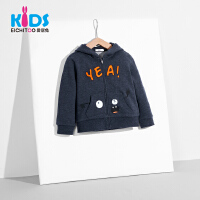 爱居兔童装2018秋季新品男小童休闲时尚针织长袖纯色外套