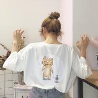 夏季女装韩版可爱背后卡通印花宽松短袖T恤中长款半袖体恤上衣潮 均码