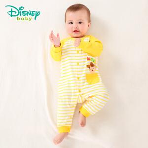 迪士尼Disney 童装婴儿连体衣条纹春装新款纯棉长袖前开扣外出宝宝衣服181L743