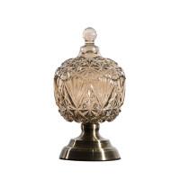 新古典欧式家居装饰品摆件高端大气玻璃糖果罐创意款装饰储物罐