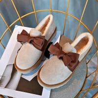 韩版蝴蝶结毛毛豆豆鞋女秋冬仙女的鞋保暖防滑外穿棉鞋加绒乐福鞋