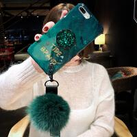 祖母绿毛球苹果x手机壳新款7p创意水钻iPhone8plus硅胶xr时尚女款6s潮牌8挂绳iPhon