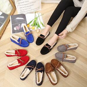 女式 秋冬季女士加绒单鞋平底低帮多色豆豆鞋经典蝴蝶结款棉鞋