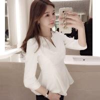 2018春夏新款女装韩版七分袖V领荷叶边裙摆收腰修身上衣衬衫