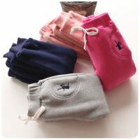 韩版冬季新款男女童双层棉花绒加绒加厚刺绣运动休闲裤A9-S36