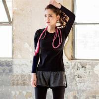 秋冬季瑜伽服上衣长袖速干女大码胖MM200斤运动跑步健身 黑色