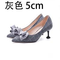 31 小码女鞋蝴蝶结尖头高跟鞋格子单鞋2018秋新款 灰格子 5cm跟高