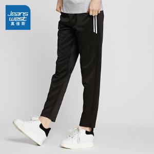 真维斯简约休闲裤女 2018新款黑色宽松显瘦撞色学生松紧腰时尚运动裤