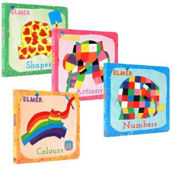 花格子大象艾玛 儿童认知纸板书 英文原版绘本形状行为数字色彩儿童英语启蒙读物 Elmer Shapes/Actions/Numbers/Colours 进口正版