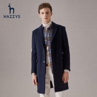 Hazzys哈吉斯冬季新品男士外套韩版时尚毛呢大衣男休闲潮流男装