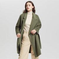 【1件3折价:599.7,18日0点可叠券】纯羊毛MECITY女装2018新款打结中长款毛呢大衣外套