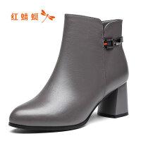 【年��限�r��,�I�辉�p20】�t蜻蜓冬季真皮短靴女加�q保暖����鞋棉鞋粗跟防滑女棉靴