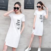 中长款T恤女短袖宽松百搭体恤韩版学生2018夏装新款女士韩范上衣 白色 字母款