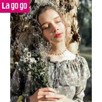 Lagogo/拉谷谷2019年春季新款时尚流苏长袖连衣裙