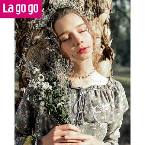 【清仓3折价137.7】Lagogo/拉谷谷2019年春季新款时尚流苏长袖连衣裙