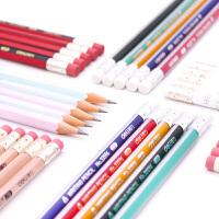 得力铅笔小学生幼儿园三角杆矫姿练字笔无铅毒六角杆带橡皮擦头HB学生儿童卡通写字带橡皮的无毒无铅1-3年级