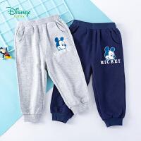 迪士尼Disney童装 男童运动休闲裤迪斯尼宝宝长裤春季新品米老鼠卡通印花裤子