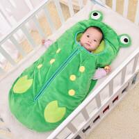 婴儿睡袋春夏秋冬四季抱被加厚儿童户外防踢被宝宝卡通青蛙空调被